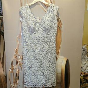 🎀Vintage Spiegel gorgeous silver lace dress sz 6